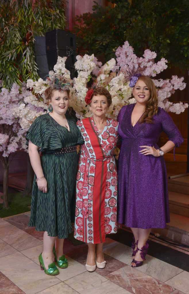 Saraden Designs owner Sarah O' Rourke with her Mum Margaret and sis ter Jennifer, Belfast Fashion Week SS19 - Photo by Trazanne