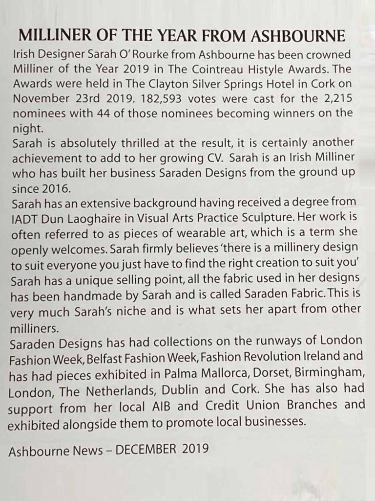 Sarah O' Rourke - Saraden Designs - Ashbourne News- Hi style Awards Winner 2019