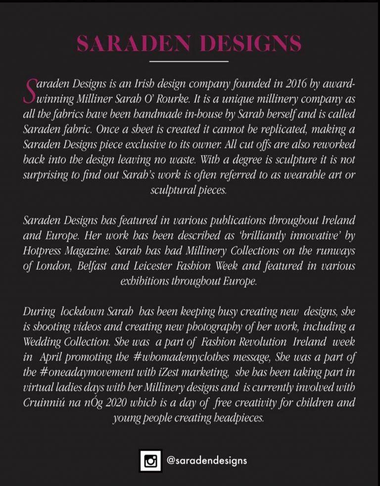 Irish Milliner Saraden Designs Sarah O' Rourke