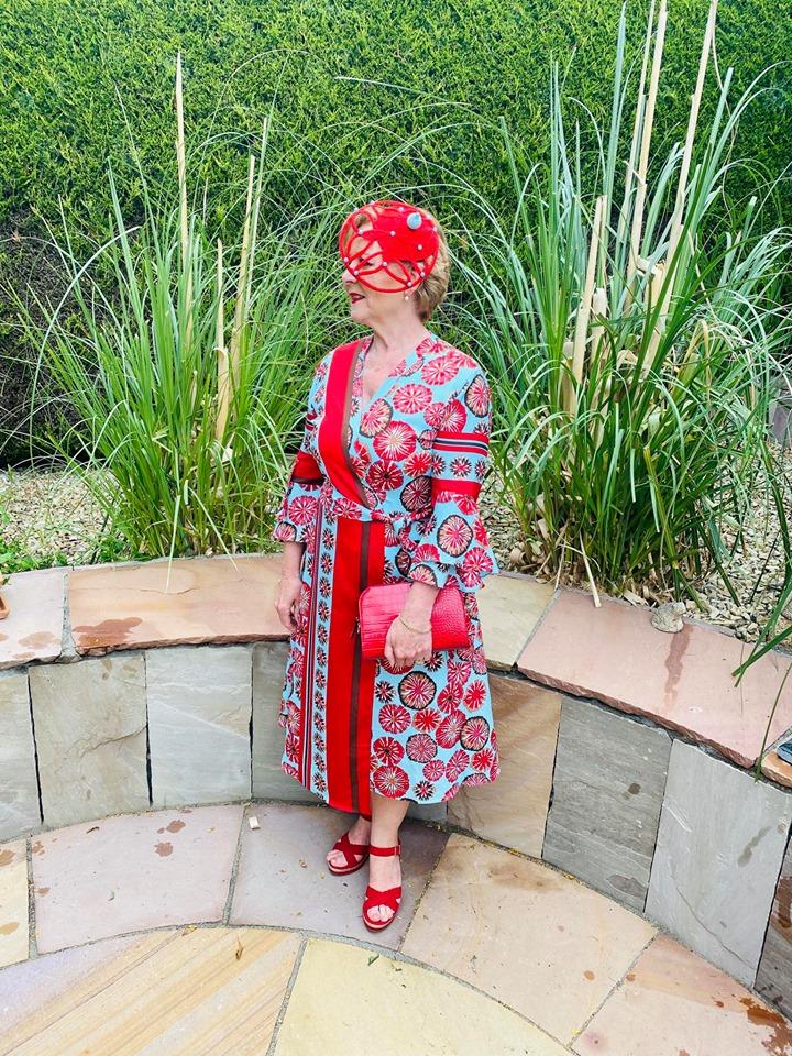 Margaret O' Rourke wearing Saraden Designs Millinery - Irish Milliner