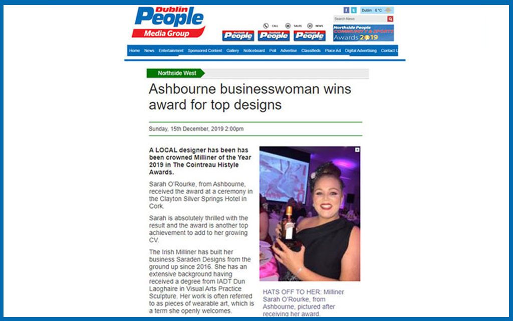 The Northside People, Interview, Newspaper, Press Coverage, Saraden Designs Millinery Atelier, Award Winning Business Woman