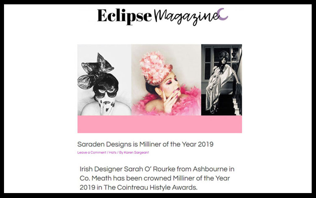 Press Publications, Eclipse Magazine, Racing Magazine, Press, Saraden Designs, Milliner of the year, Award Winning, Saraden Designs Millinery Atelier, design Blog