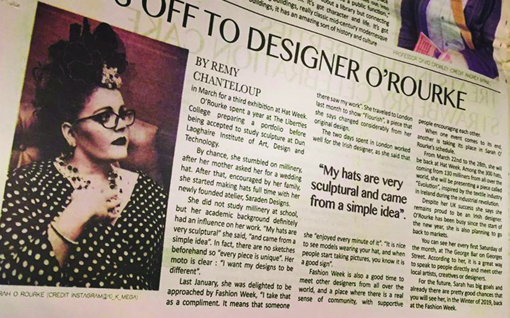 Liberty newspaper, press publications, interview, Sarah O' Rourke from Saraden Designs Millinery, Irish Milliner, London Hat Week, London Fashion Week