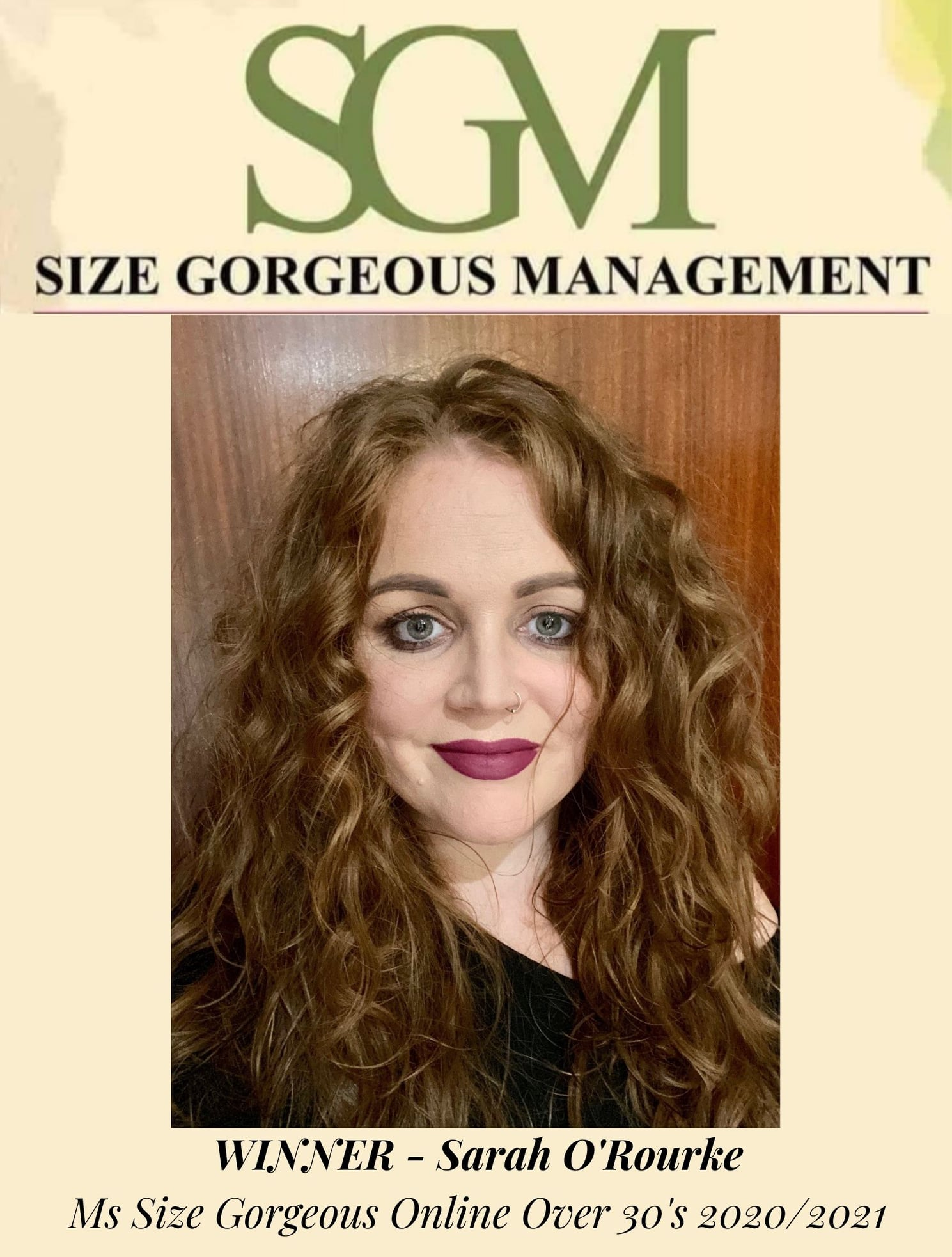 Size Gorgeous Management over 30's winner Sarah O' Rourke from Ashbourne Co. Meath