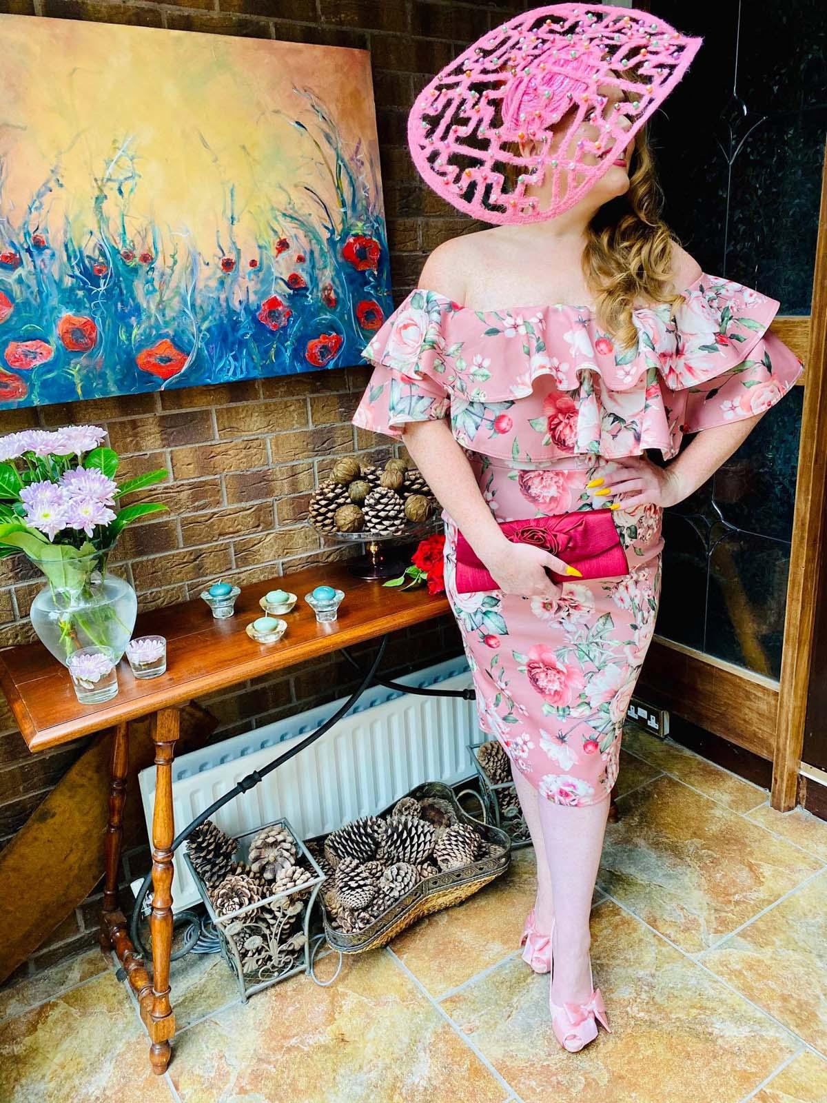 Ballinrobe Races Virtual Ladies Day - Sarah O' Rourke wearing Irish Designer Saraden Designs Millinery Atelier