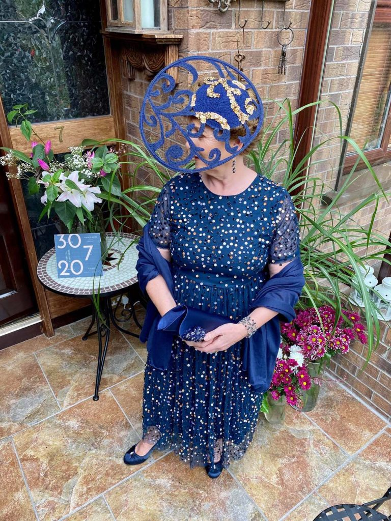 Herdotie Galway Races - Margaret O' Rourke wearing Irish Designer Saraden Designs Millinery Atelier