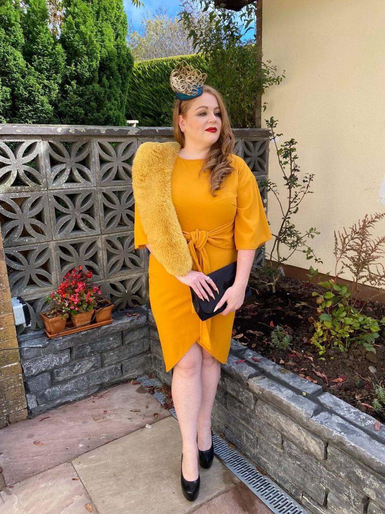 Irish Designer Sarah O' Rourke wearing Saraden Designs Millinery Atelier at the Listowel Virtual Ladies Day