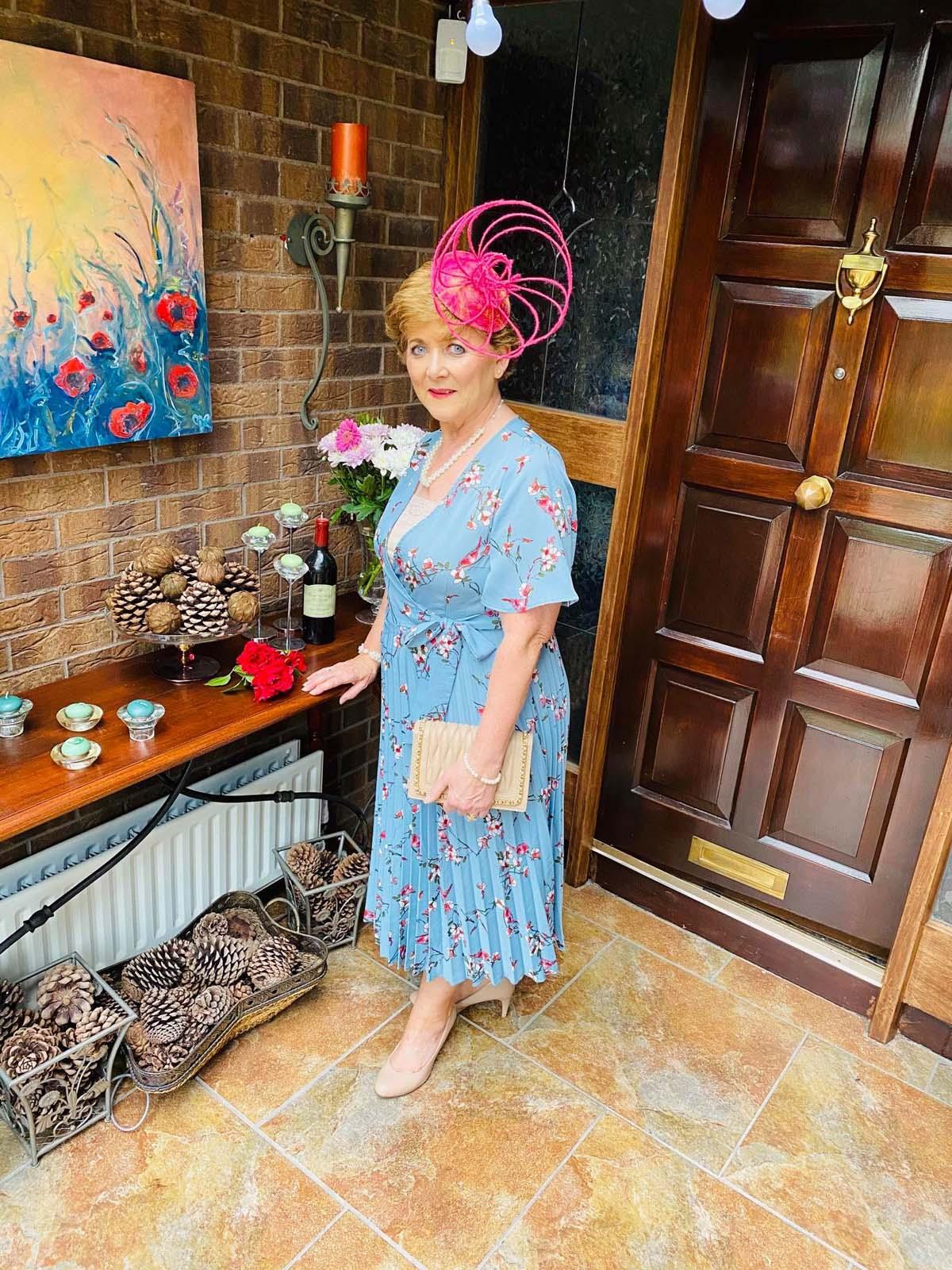 Ballinrobe Races Virtual Ladies Day - Margaret O' Rourke wearing Irish Designer Saraden Designs Millinery Atelier