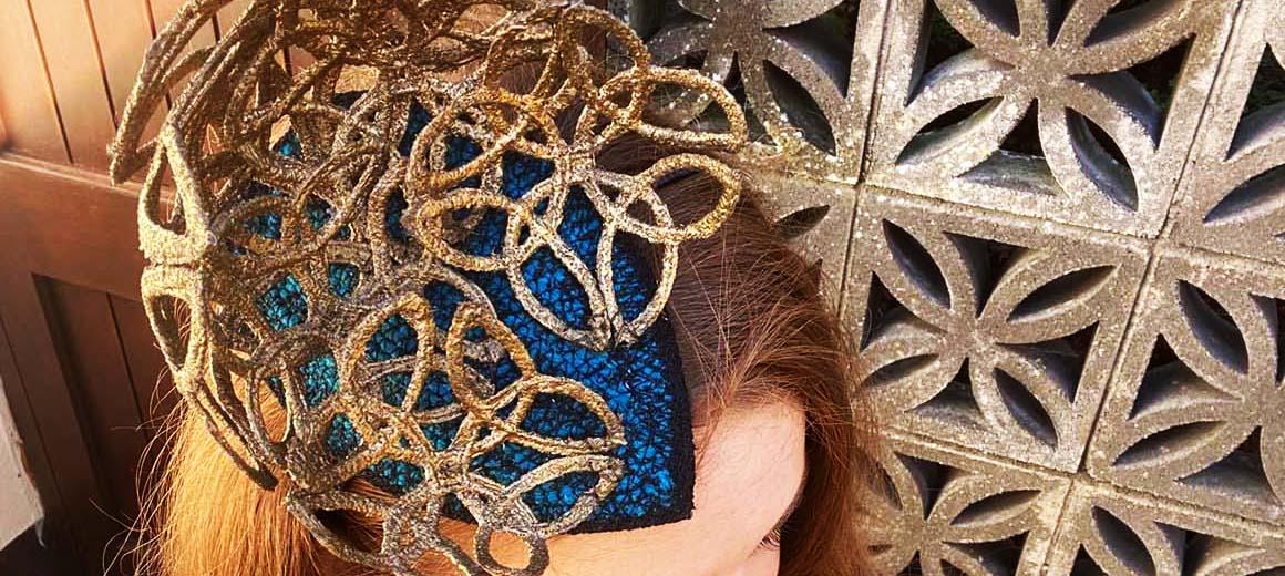 Listowel Races Virtual Ladies Day- Irish Designer Sarah O' Rourke wearing Saraden Designs Millinery Atelier