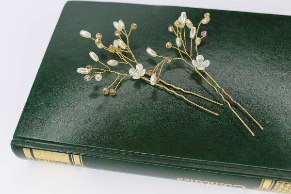 Louisa Hair Pins, wedding design, Saraden Designs Millinery, handmade Irish designer