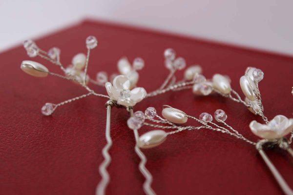 Paige Hair Pins, wedding design, Saraden Designs Millinery, handmade Irish designer