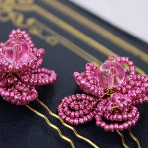 Orchid Hair Pins, wedding design, Saraden Designs Millinery, handmade Irish designer