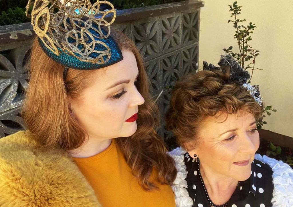 Listowel Races, Virtual Ladies Day - Irish Designer Sarah O' Rourke with Margaret O' Rourke wearing Saraden Designs Millinery Atelier
