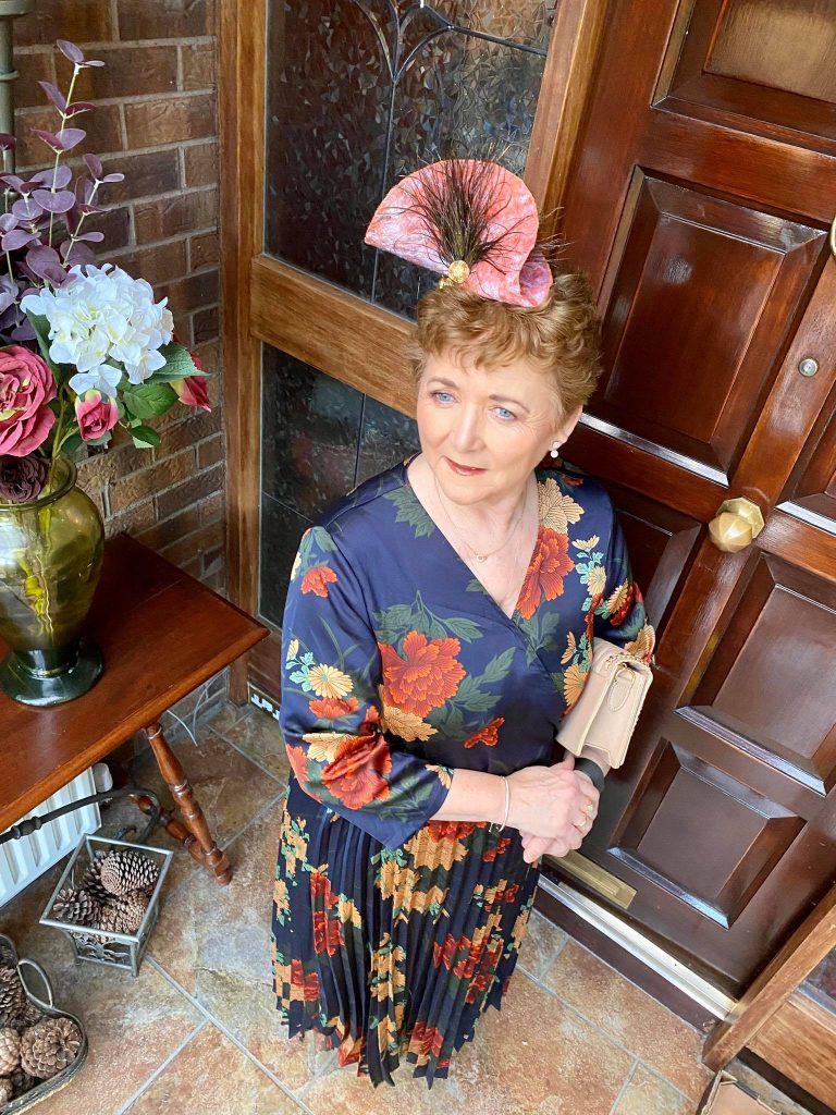 Margaret O' Rourke wearing Irish Design Saraden Designs Millinery Atelier