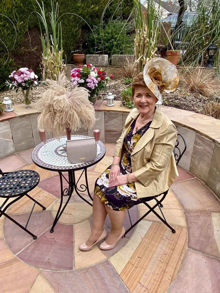Margaret O' Rourke wearing Saraden Designs Millinery Atelier