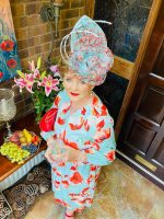 Online Store - Margaret O' Rourke wearing a custom Saraden Designs Millinery Atelier bespoke hat for a Virtual Ladies Day