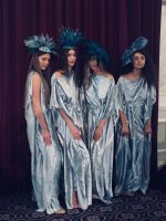 Models at Leicester Fashion Week wearing Saraden Design Millinery pieces from The Oceanic Nature Collection