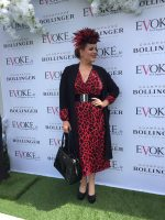 Sarah O' Rourke wearing a Saraden Designs millinery original hat design at the Punchestown Races with Evoke.ie