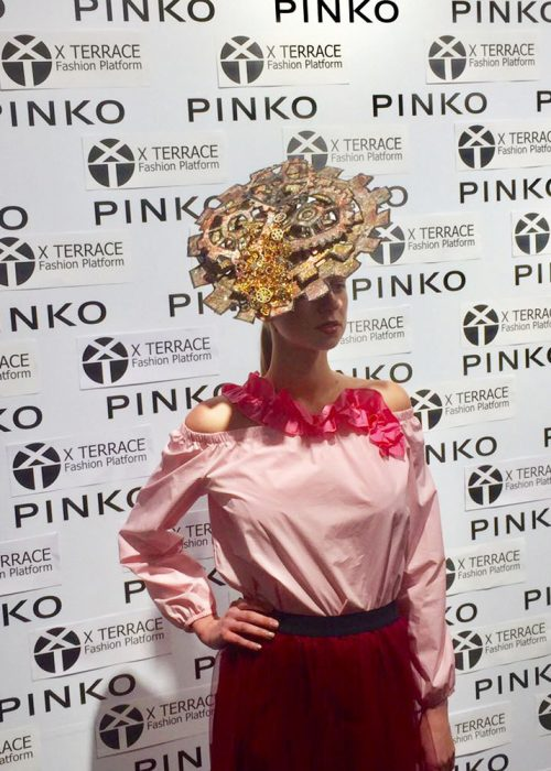Saraden Designs Millinery piece Evolution at London Hat Week Press Preview Event, Pinko Boutique London | Evolution | London Hat Week | Press Event